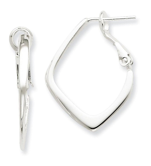 925 Sterling Silver Polished Square Omega Back Hoop Post Earrings - C011FW51UR7