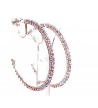 Clip-on Earrings Silver Tone Crystal Hoop Earrings 2 Inch Clip Hoop Earrings for Non Pierced Ears - CJ12MZ4YAEN