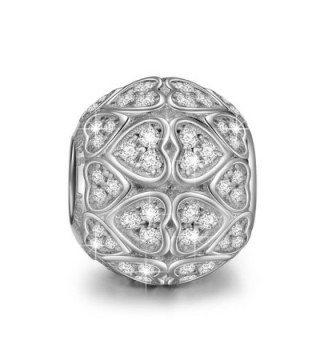 NinaQueen 925 Sterling Silver Heart Love Clear Zirconia Silver Charms - C8127KZK4L9