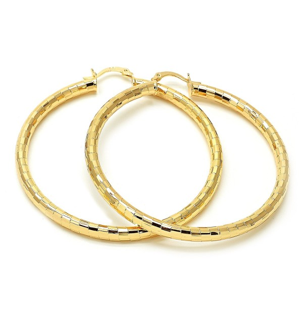 Stunning 14K Gold Plated Women Hoop Earrings- 4mm. 20MM to 80 MM - C112NGHK4B6