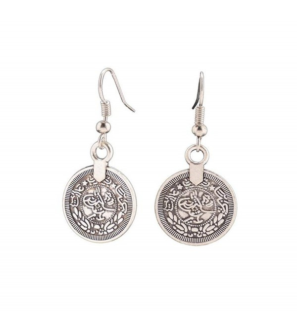 Andyle Vintage Tibetan Silver Round Coin Embossed Dangle Drop Hook Earrings - CG12LSPBHYP
