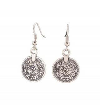 Andyle Vintage Tibetan Silver Round Coin Embossed Dangle Drop Hook Earrings - CG12LSPBHYP