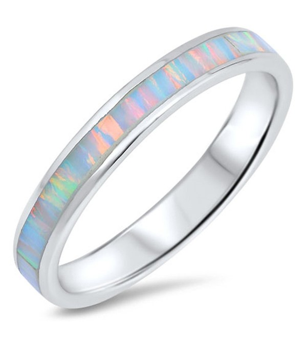 CHOOSE YOUR COLOR Sterling Silver Wedding Ring - White Simulated Opal - C112N6JKDOR