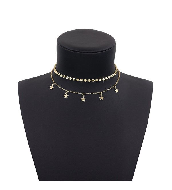 Boosic Double Layer Coin Chain Star Tassel Choker Necklace for Women- Golden - Golden Disc&Star - CR18527NEA2