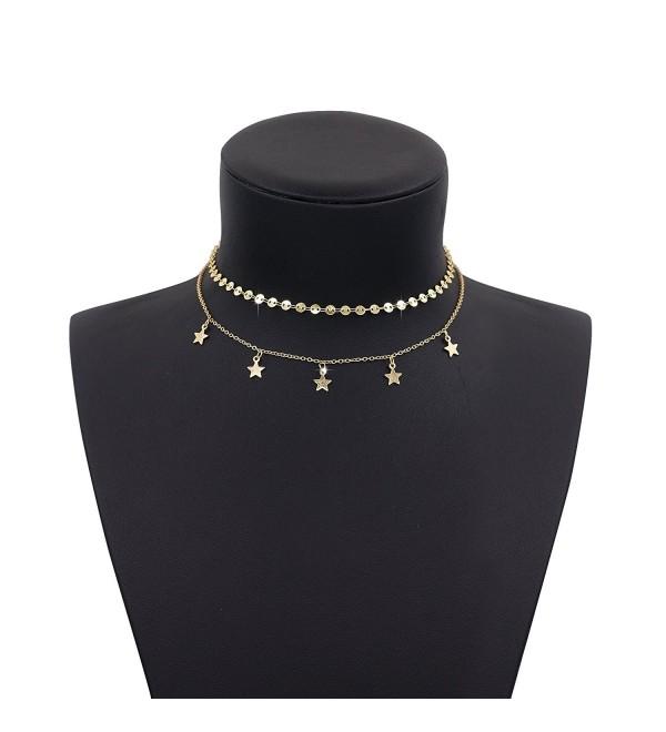 Boosic Double Layer Coin Chain Star Tassel Choker Necklace for Women- Golden - Golden Disc&Star - CR18527NEA2