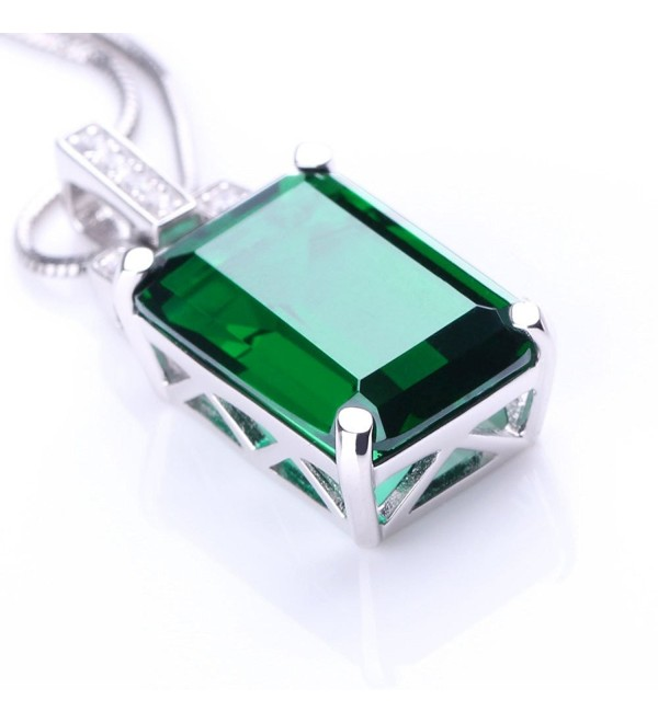 ANGG Women 6ct Green Emerald Cut Necklace Pendant 925 Sterling Silver Jewelry - CM17Y0L98WY