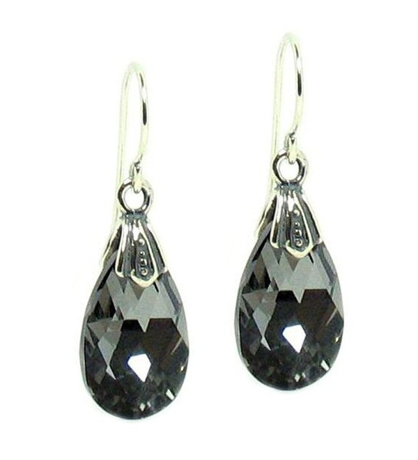 Queenberry Silver-Night Swarovski Elements Teardrop Crystal Sterling Silver Dangle Earrings - C8115UQGQ95