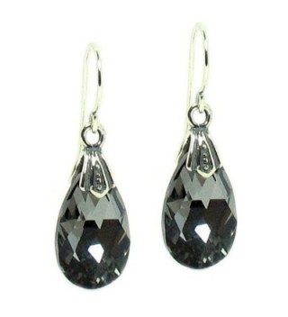 Queenberry Silver-Night Swarovski Elements Teardrop Crystal Sterling Silver Dangle Earrings - C8115UQGQ95
