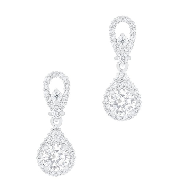 18k Gold Plated Solitaire Cubic Zirconia Accent Halo Drop Earrings (0.95 carats) - CB1263IOYLF