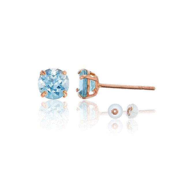 14K Rose Gold 6.00mm Semi-Precious Round Stud Earring - Aquamarine - CD187I0R26Z