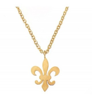 Altitude Boutique Fleur De Lis Pendant Necklace (Silver- Gold) - Gold - CU189206YAD
