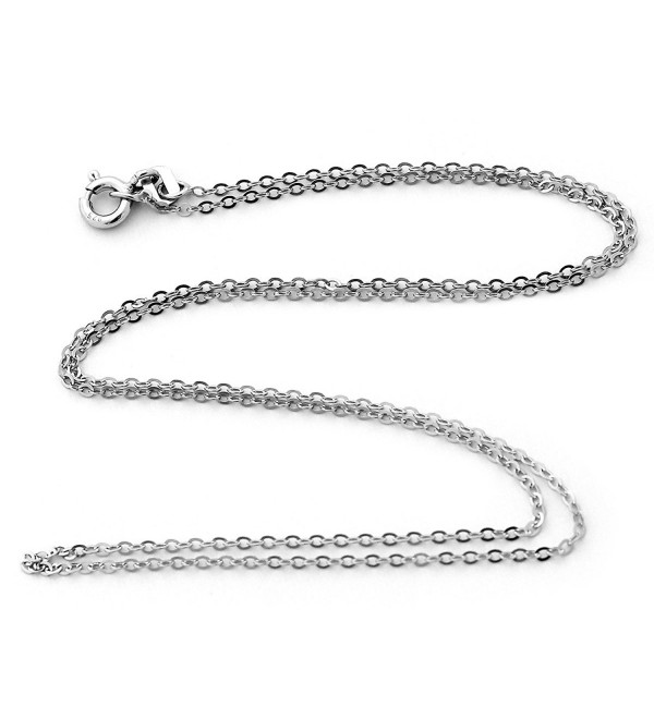 "Solid Sterling Silver Rhodium Plated 1.3mm Cable Chain Necklace - 16"" 18"" 20"" 24"" 30"" 36"" - CZ11AW5UD5B"