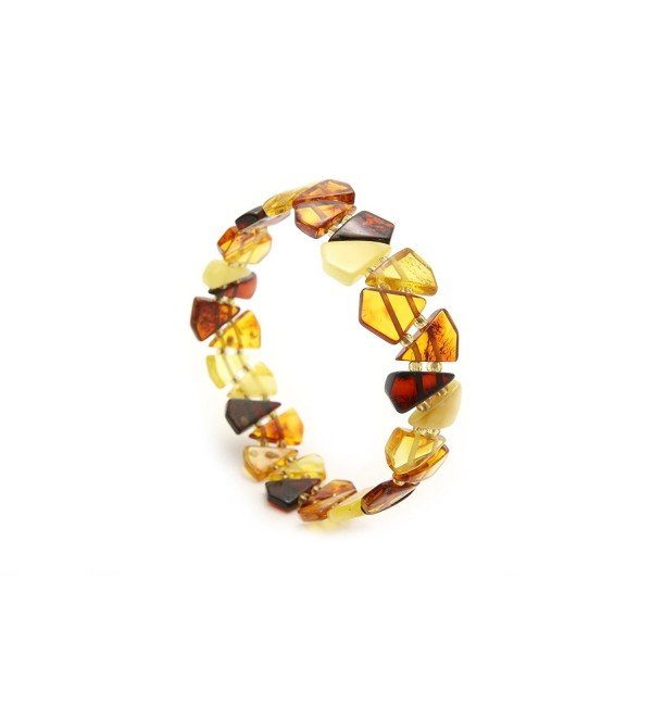 Genuine Natural Baltic Amber Stretch Bracelet For Women - Multicolored - CH11A1FBS15