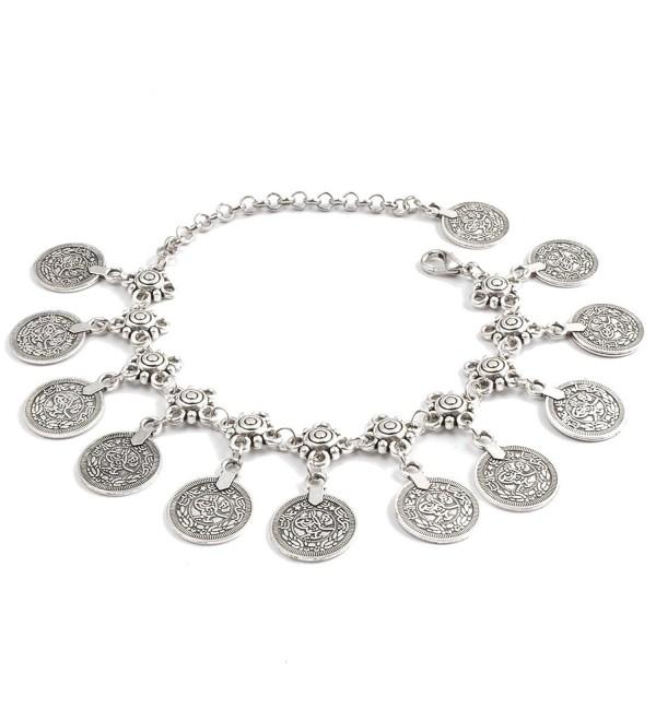 PearlPlus Vintage Boho Chain Anklet Coin Tassels Beach Hawaiian Ankle Bracelet For Women - Antique Silver(1 PC) - CT124XJNHHN