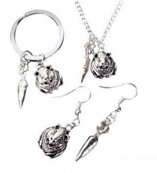 """Pashal Guinea Pig and Carrot Charm Jewelry by """"The Crazy Guinea Pig Lady"""" - CA12NYHO10N"""