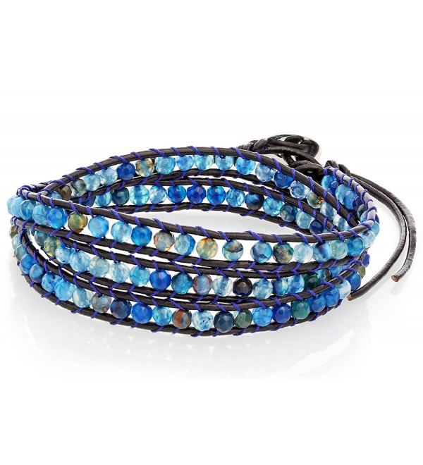 Blue Bead Wrap Bracelet with Black Genuine Leather Cord & Button Clasp- By Regetta Jewelry - C5128SYBMKD