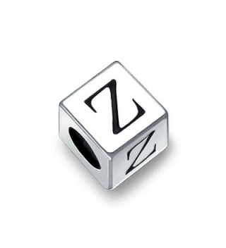 Bling Jewelry 925 Sterling Silver Block Letter Z Bead Charm - CY115668FF7