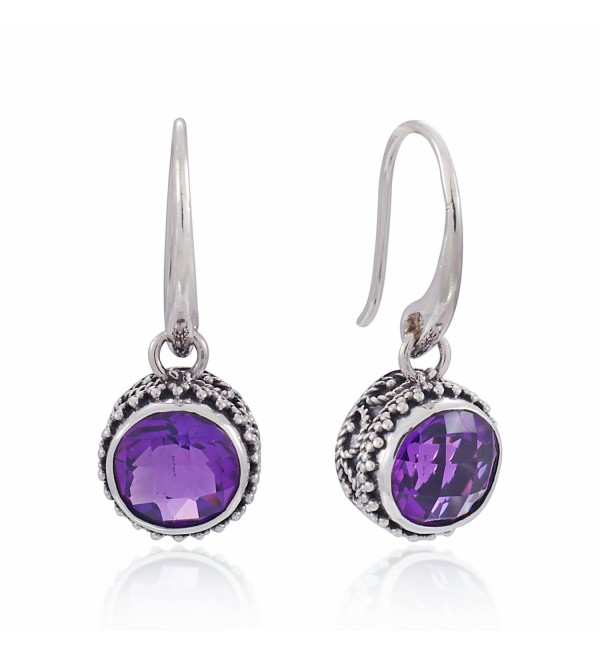 925 Sterling Silver Bali Vintage Round Purple Amethyst Dangle Earrings - Nickle Free - CV126GZ6GD9