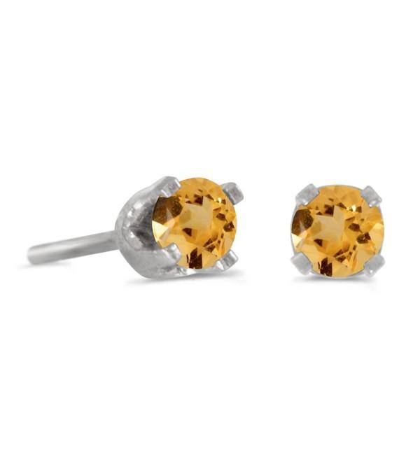 3 mm Petite Round Genuine Citrine Stud Earrings in 14k White Gold - C2115FZOLJD