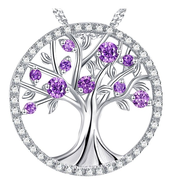 Amethyst Necklace February Birthstone Sterling - The Tree of Life Birthsone Necklace - C2189W39Y4A