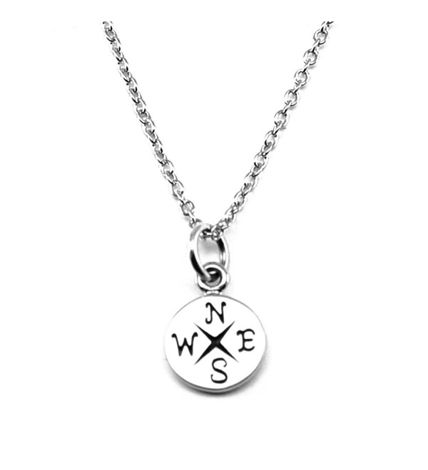 Sterling Silver Compass Pendant Necklace - Simple Compass - C412NAGXGGU