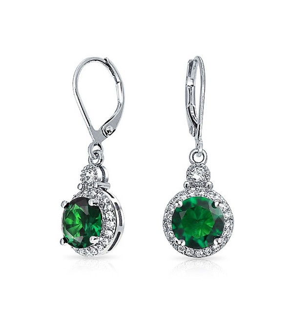 Bling Jewelry Simulated Green Emerald CZ Bridal Drop Earrings Rhodium Plated - CI11L908419
