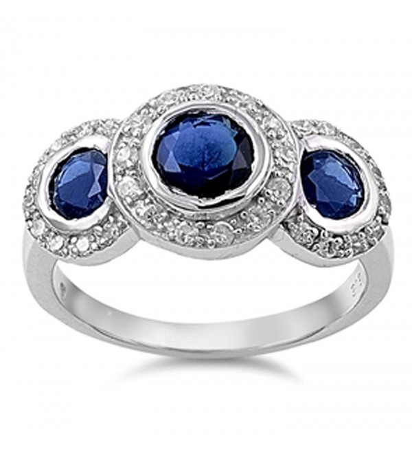 CHOOSE YOUR COLOR Sterling Silver Triple Round Ring - Blue Simulated Sapphire - CC187Z4M73I