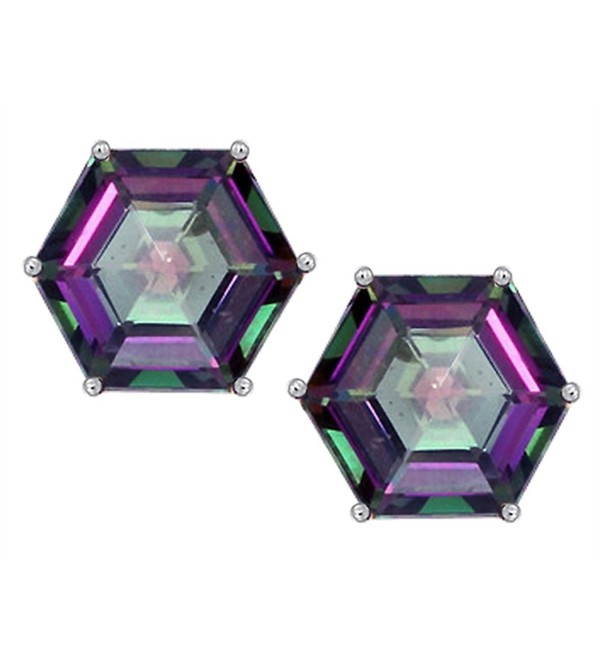 Star K Sterling Silver Fancy Octagon Cut Earring Studs - Mystic Quartz - CO12N21UQU1