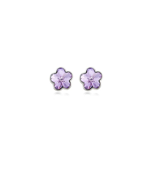 Daesar Gold Plated Earring for Women Earrings Crystal Flower Cubic Zirconia Earrings - Purple - CN188HRA8NK