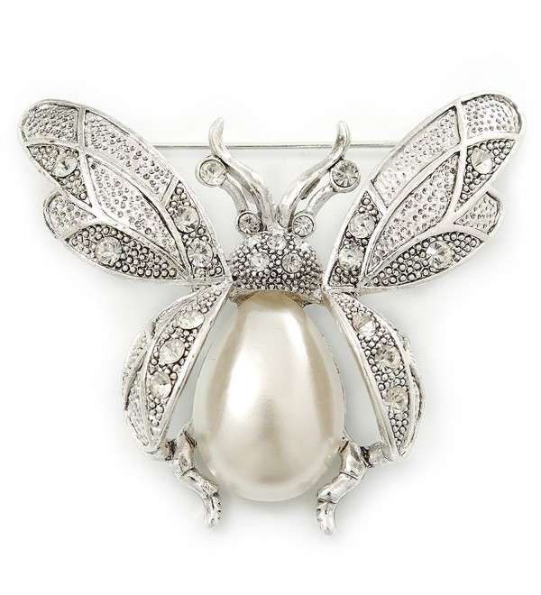 Vintage Inspired Crystal- Simulated Pearl 'Bumble Bee' Brooch In Silver Plating - 60mm Across - C011F4I7Y31