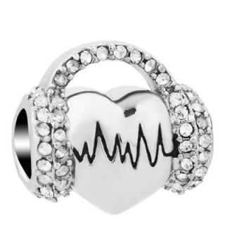 Third Time Charm Music Electrocardiogram Charm Hear Heart Beat ECG Beads For Bracelets - White - C7188QOGLHO
