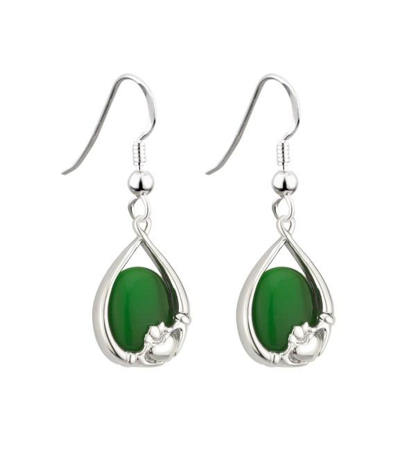Irish Claddagh Earrings with Green Cats Eye by Solvar - CA11MYBFQ59