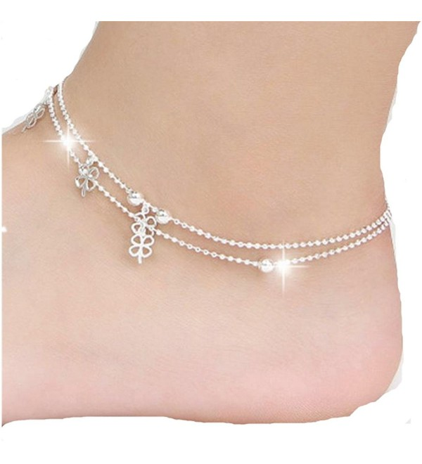 Susenstone Four-Leaf Clover Ankle Bracelet Beach Foot Jewelry - CJ12D3LTZT1