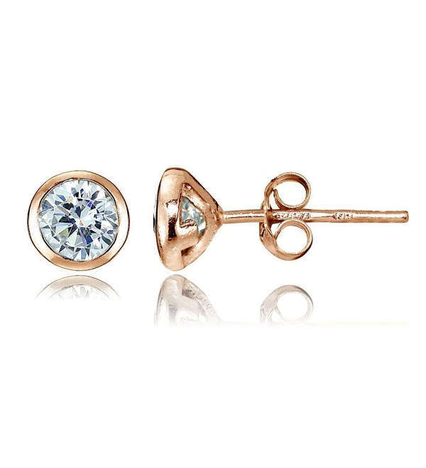 Sterling Silver Cubic Zirconia Bezel-Set Martini Stud Earrings - Rose Gold Flash Silver - CO12MN2NQBT