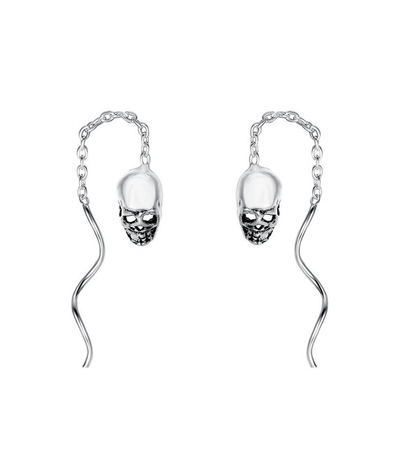 EleQueen 925 Sterling Silver Vintage Inspired Gothic Skull Chain Ear Threader Drop Earrings - CH184HSSS4H