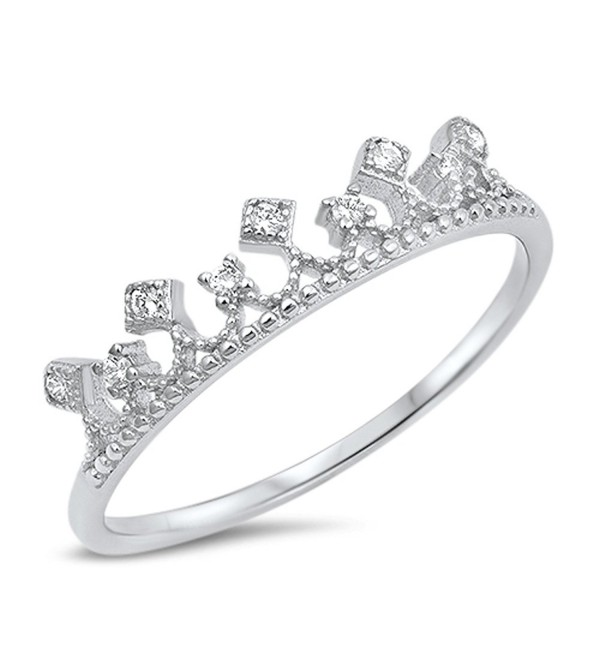 White CZ Crown Princess Royal Kingdom Ring .925 Sterling Silver Band Sizes 4-10 - C0183CXQYOT