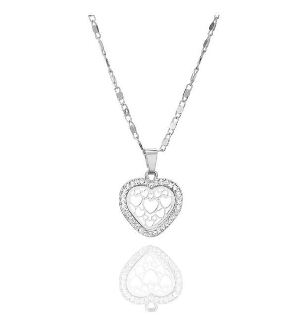 Necklace Pendant Brilliant Rhinestone Zirconia - Silver Plated Love Heart - CI188SCY88R