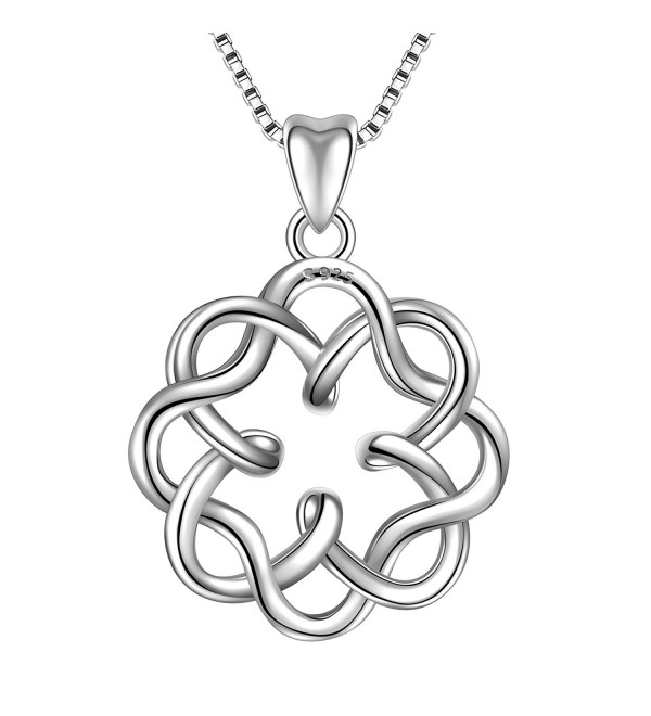 "925 Sterling Silver Irish Infinity Endless Love Celtic Knot Vintage Pendant Necklace- Box Chain 18"" - CG182SSHE4S"