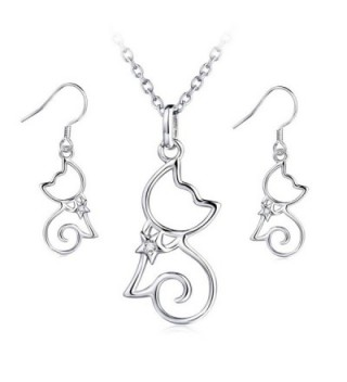 "YFN Sterling Silver CZ Open Little Cat Dangle Earrings Pendant Necklace 18"" - CB12NTISBGI"
