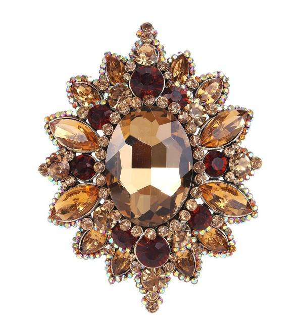EVER FAITH Women's Rhinestone Crystal Elegant Sunflower Brooch - Brown Antique Gold-Tone - C112I5WQHY9