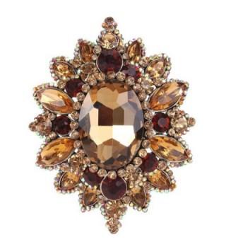 EVER FAITH Women's Rhinestone Crystal Elegant Sunflower Brooch - Brown Antique Gold-Tone - C112I5WQHY9