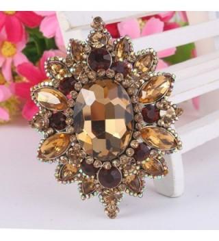 EVER FAITH Rhinestone Sunflower Gold Tone in Women's Brooches & Pins