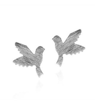 Doting Birds in Flight Textured .925 Sterling Silver Stud Earrings - C711TBZSUA3