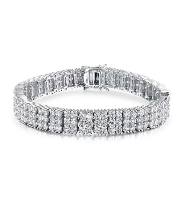 Bling Jewelry Sterling Silver 3 Row Classic CZ Tennis Bracelet - C9113AIW16L