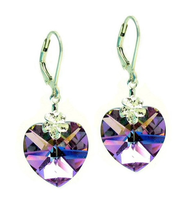 Swarovski Elements Purple Heart Crystal Sterling Silver Leverback Dangle Earrings - CV115UAD6KR