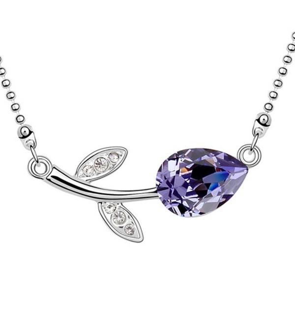 Delicate Necklace Swarovski Element Austrian Crystal Lovely Rose Flower Necklace - Tanzanite - CU11EIKS8NB
