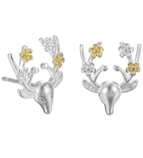 Animal Earrings Deer Stud Earring 925 Sterling Silver Women's Sweet Girl Brincos Jewelry - CU12O4526BC