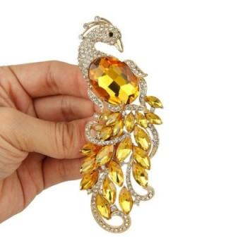 65f2f2315ca EVER FAITH Rhinestone Crystal Elegant Peacock Bird Animal Brooch  Silver-Tone - Topaz Color -; EVER FAITH Gold Tone Austrian Crystal ...