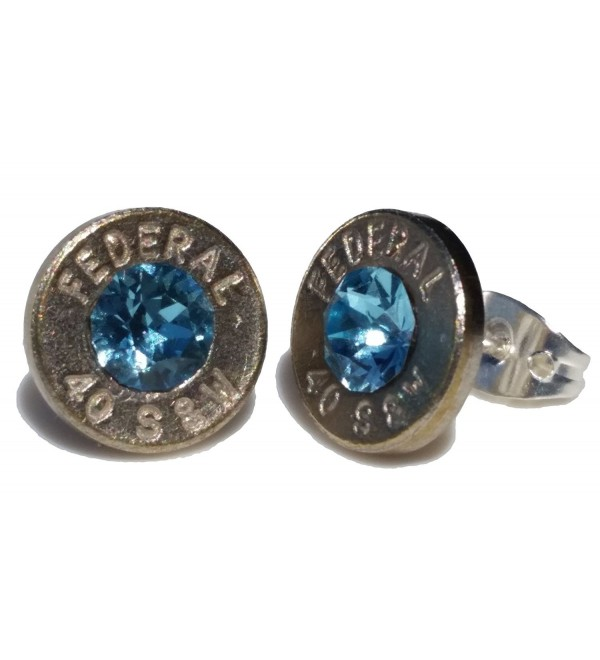 .40 S&W Bullet Earrings with Swarovski Aqua Crystal. Brand New! - CR11ZX94PRT