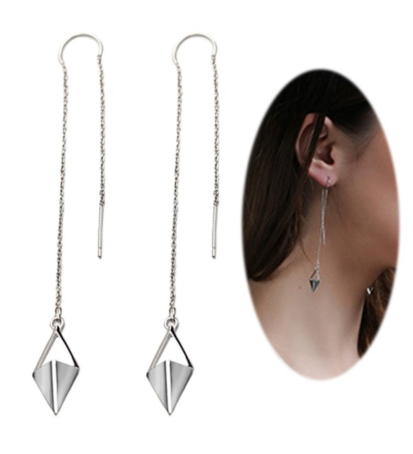 Threader Earring Chandelier Triangle Crystal - Rhombus with Silver Plated - C517XMS6XN8